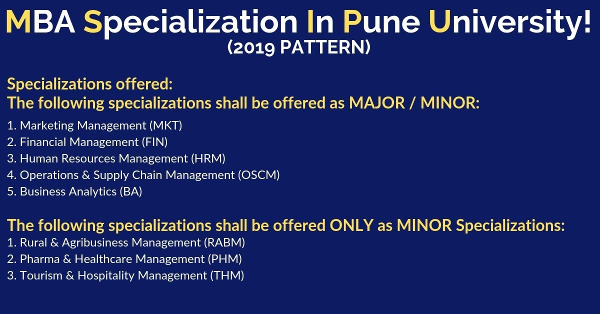 MBA Specialization in Pune university 2019 pattern